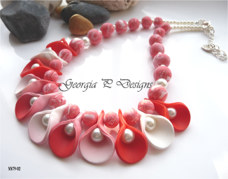 Polymer clay red & white necklace