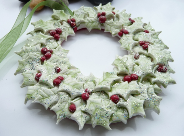 Polymer Clay Holly Wreath Christmas Decoration Georgia P Designs