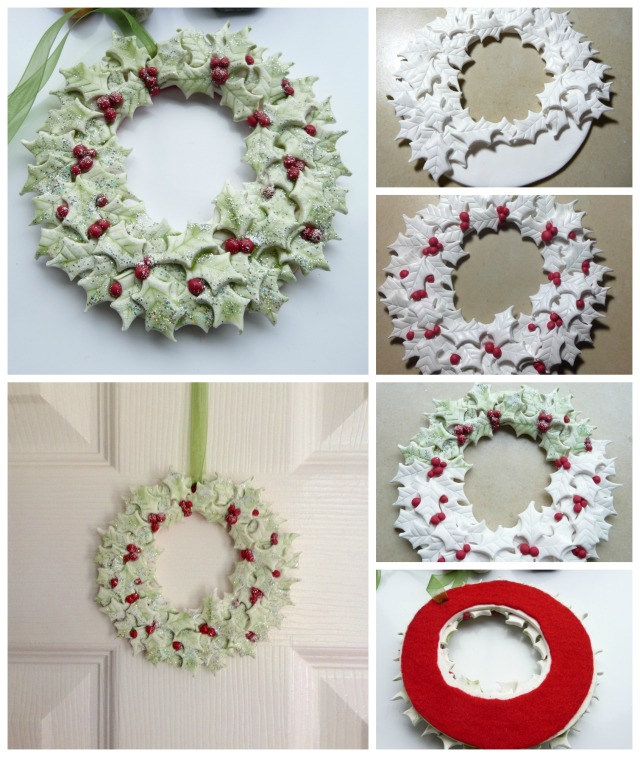 Polymer Clay Holly Wreath collage